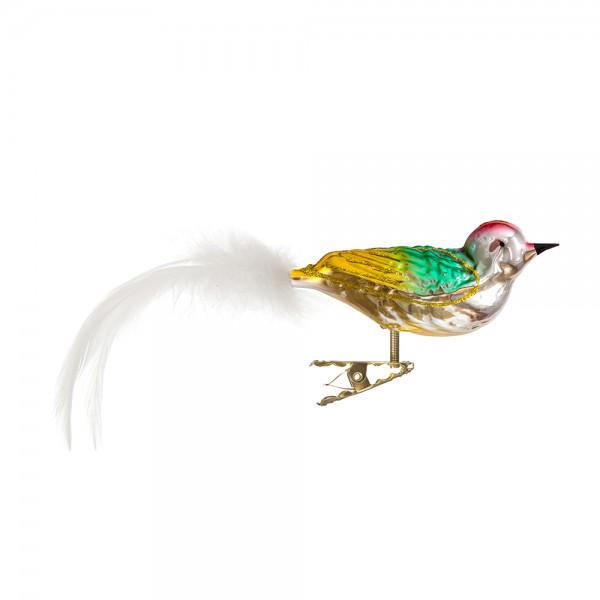 Vogel mit gedrehten Kopf, gespritzt, Federn