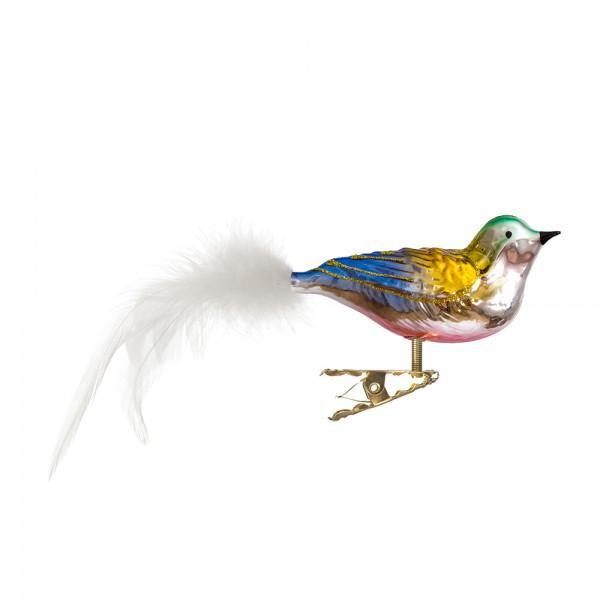 Vogel mit gedrehten Kopf, gespritzt, Feder