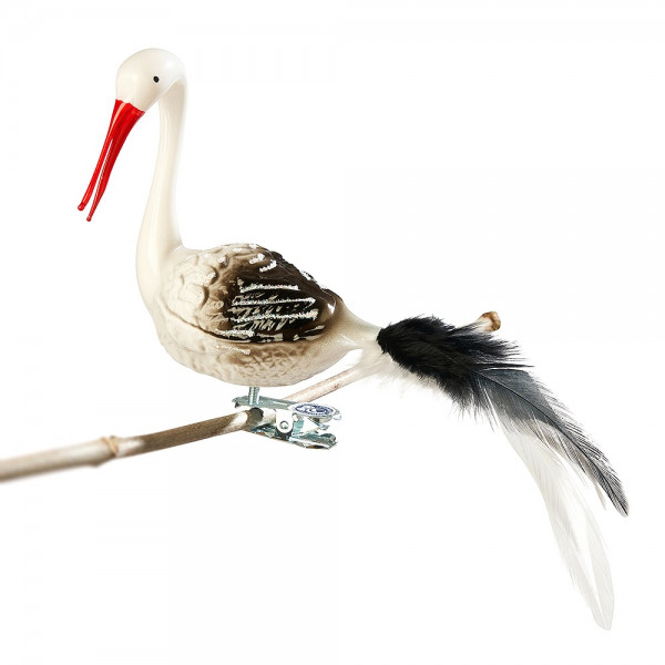 Storch, gedrehter Kopf, offener Schnabel, Feder