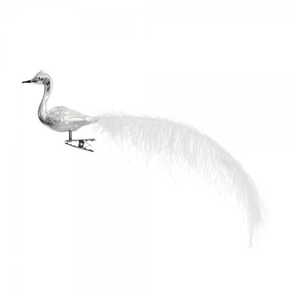 kleiner Halsvogel, gespritzt, lange weiße Feder, Krone
